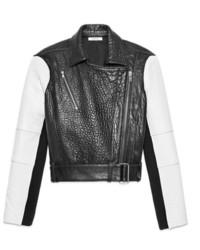 Veste motard en cuir noire et blanche