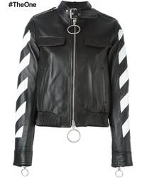 Veste motard en cuir noire et blanche Off-White