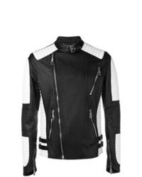 Veste motard en cuir noire et blanche Philipp Plein