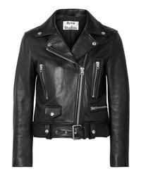 Veste motard en cuir noire Acne Studios