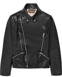 Veste motard en cuir noire Alexander McQueen