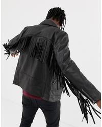 Veste motard en cuir noire ASOS DESIGN