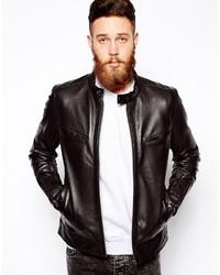 Veste motard en cuir noire Asos