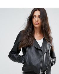 Veste motard en cuir noire Asos Tall