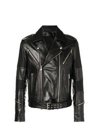 Veste motard en cuir noire Balmain