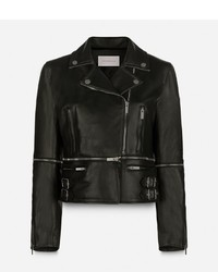 Veste motard en cuir noire Christopher Kane