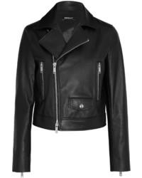 Veste motard en cuir noire DKNY