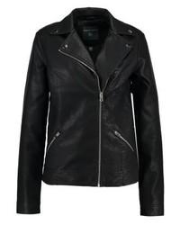 Veste motard en cuir noire Dorothy Perkins