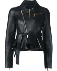 Veste motard en cuir noire Dsquared2