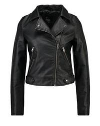 Veste motard en cuir noire Even&Odd