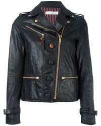 Veste motard en cuir noire Golden Goose Deluxe Brand