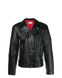 Veste motard en cuir noire Gucci