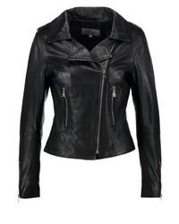 Veste motard en cuir noire Ibana