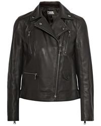 Veste motard en cuir noire Karl Lagerfeld
