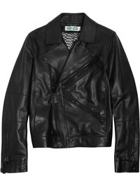 Veste motard en cuir noire Kenzo