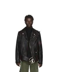 Veste motard en cuir noire Loewe