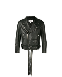 Veste motard en cuir noire Maison Margiela
