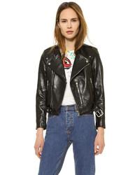 Veste motard en cuir noire Marc Jacobs