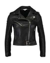 Veste motard en cuir noire Miss Selfridge