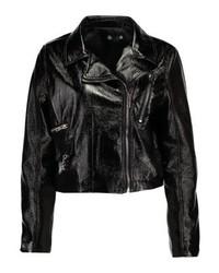 Veste motard en cuir noire Missguided