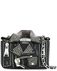 Veste motard en cuir noire Moschino