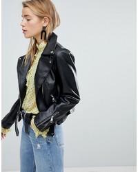 Veste motard en cuir noire New Look
