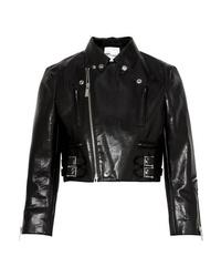Veste motard en cuir noire Noir Kei Ninomiya