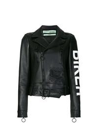 Veste motard en cuir noire Off-White