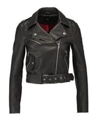 Veste motard en cuir noire Only