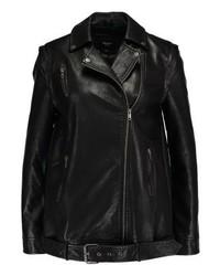 Veste motard en cuir noire Pepe Jeans