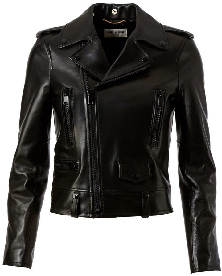 Veste motard en cuir noire Saint Laurent