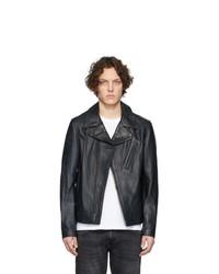 Veste motard en cuir noire Schott