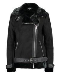 Veste motard en cuir noire Topshop