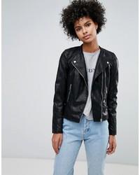 Veste motard en cuir noire Vero Moda