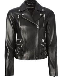 Veste motard en cuir noire Versace