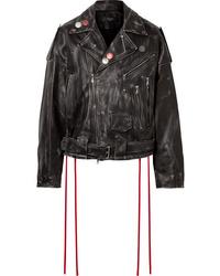 Veste motard en cuir ornée noire Amiri
