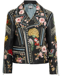 Veste motard en cuir ornée noire Gucci
