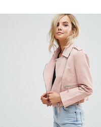 Veste motard en cuir rose Asos