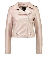 Veste motard en cuir rose Even&Odd