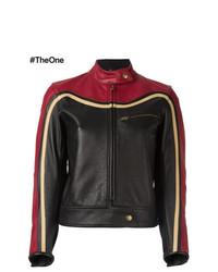 Veste motard en cuir rouge et noir Chloé
