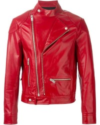 Veste motard en cuir rouge