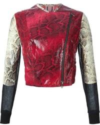 Veste motard en cuir rouge Aviu