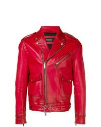 Veste motard en cuir rouge DSQUARED2