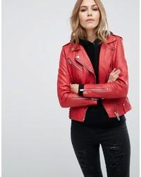 Veste motard en cuir rouge Mango