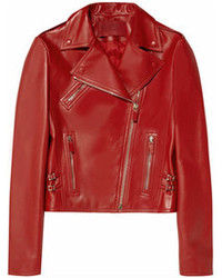 Veste motard en cuir rouge Valentino