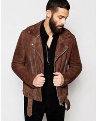 Veste motard en daim brune Asos