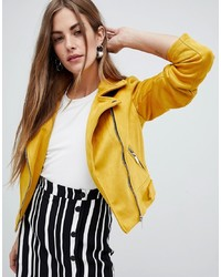 Veste motard en daim jaune New Look
