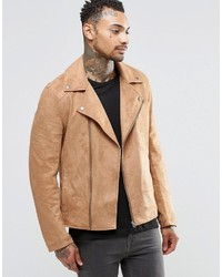 Veste motard en daim marron clair Asos