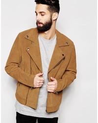 Veste motard en daim brune claire Asos