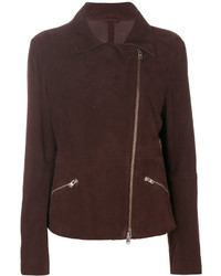 Veste motard en daim marron foncé Closed